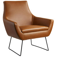 Kendrick Camel Brown Distressed PU Leather and Matte Black Accent Chair
