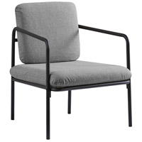 Adesso GR2006-03 Nathan Matte Black with Textured Light Grey Fabric Chair