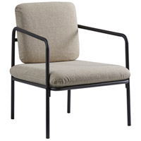 Nathan Matte Black with Textured Light Beige Fabric Chair