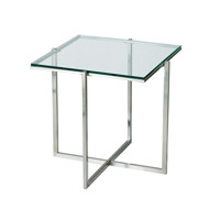 Adesso Glacier End Table in Satin Steel HX1127-22