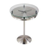 Adesso Floating Glass Time Table in Satin Steel HX4110-22