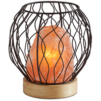 Adesso SL1146-12 Hope 8 inch 7 watt Black Metal with Pink Himalayan Salt Rock & Wood Himalayan Salt Table Lamp Portable Light Simplee Adesso