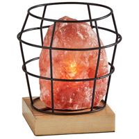 Adesso SL1147-12 Faith 8 inch 7 watt Black Metal with Pink Himalayan Salt Rock & Wood Himalayan Salt Table Lamp Portable Light Simplee Adesso