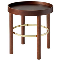 Montgomery 22 X 19 inch Walnut and Shiny Gold End Table