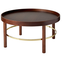 Montgomery 30 X 17 inch Walnut and Shiny Gold Coffee Table