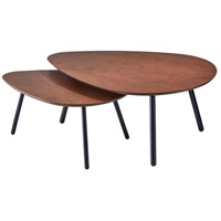 Hendrix 31 X 17 inch Walnut and Matte Black Nesting Coffee Tables, Set of 2