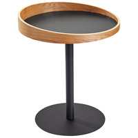 Crater 22 X 18 inch Black and Natural Wood Veneer End Table