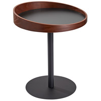 Crater 22 X 18 inch Black and Walnut Wood Veneer End Table