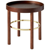 Montgomery 19 inch Walnut Rubberwood Veneer and Shiny Gold End Table Home Decor