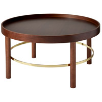 Montgomery 30 inch Walnut Rubberwood Veneer and Shiny Gold Coffee Table Home Decor