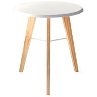Jaxon 18 inch White and Natural Accent Table Home Decor
