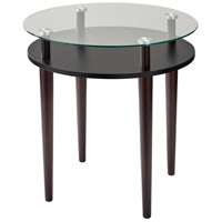 Dwight 21 X 20 inch Clear Glass and Black with Walnut End Table