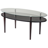 Dwight 40 X 17 inch Clear Glass and Black with Walnut Coffee Table
