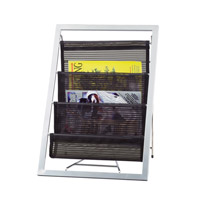 Adesso Signature Magazine Rack in Black/Steel WK7802-01