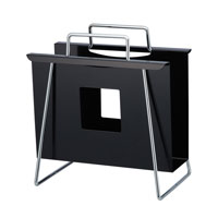 Adesso Portfolio Magazine Rack in Black/Chrome WK7804-01