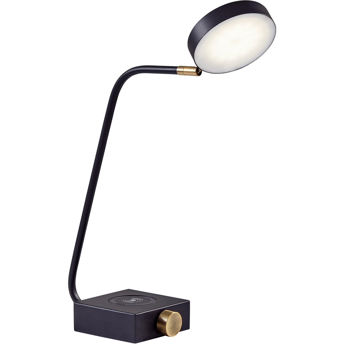 Adesso 3618-01 Conrad Desk Lamp Matte Black with Antique Bra