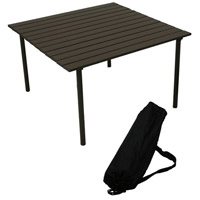 Table in a Bag 27 X 27 inch Brown Low Portable Table in Brown Aluminum, Lightweight, Folding
