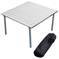 Table in a Bag 27 X 27 inch Silver Low Portable Table, Lightweight, Folding