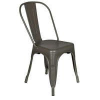 Durable Cafe Gray Outdoor Bistro Chair, Commercial-Grade