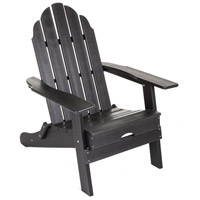 Folding Poly Black Outdoor Adirondack Chair, Commercial-Grade