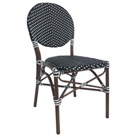 French Cafe Black and White Outdoor Bistro Chair, Commercial-Grade