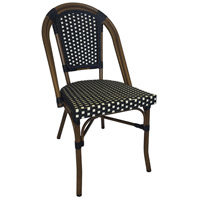 Cafe Black and White Outdoor Bistro Chair, Stackable