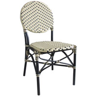 Aspen Brands CBCCB French Cafe Cream and Black Outdoor Bistro Chair, Commercial-Grade
