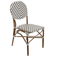 Cafe Gray and White Outdoor Bistro Chair, Stackable