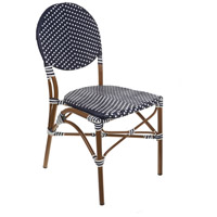 Aspen Brands CBCNNW Cafe Navy and White Outdoor Bistro Chair, Stackable