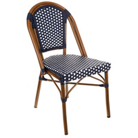 Aspen Brands CBCNW French Cafe Navy and White Outdoor Bistro Chair, Commercial-Grade