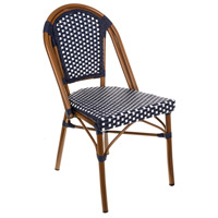 Cafe Navy and White Outdoor Bistro Chair, Stackable