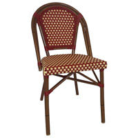 Aspen Brands CBCRW French Cafe Red and Cream Outdoor Bistro Chair, Commercial-Grade