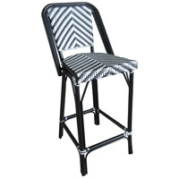 Cafe Black and White Outdoor Bistro Bar Chair, Commercial-Grade