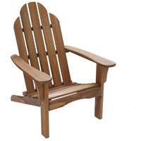 Folding Poly Natural Wood Outdoor Adirondack Chair in Brown