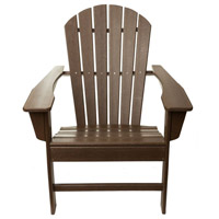 Folding Poly Brown Outdoor Adirondack Chair, Commercial-Grade