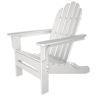 Folding Poly White Wood Outdoor Adirondack Chair