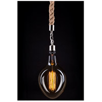 Signature 1 Light 13 inch Nickel and Brown Drop Rope Light Ceiling Light, Bulbs Not Included