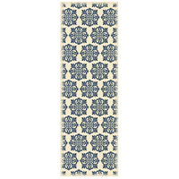 Modern 72 X 24 inch Blue and White Outdoor Rug
