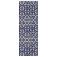 Modern European 72 X 24 inch Blue and White Outdoor Rug