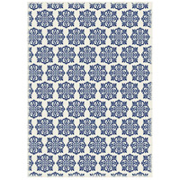 Modern 72 X 48 inch Blue and White Outdoor Rug
