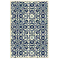 Modern European 72 X 48 inch Blue and White Outdoor Rug