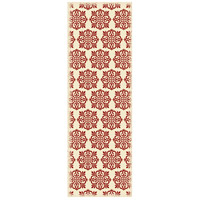 Modern 72 X 24 inch Red and White Outdoor Rug