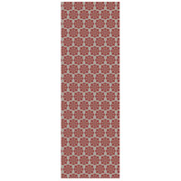 Modern European 72 X 24 inch Red and White Outdoor Rug