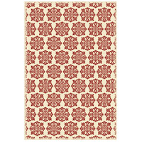Modern 72 X 48 inch Red and White Outdoor Rug