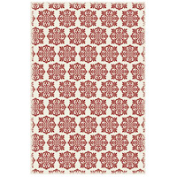 Modern European 72 X 48 inch Red and White Outdoor Rug