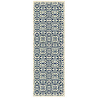 Quad 72 X 24 inch Blue and White Outdoor Rug