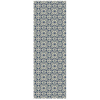 Quad European 72 X 24 inch Blue and White Outdoor Rug