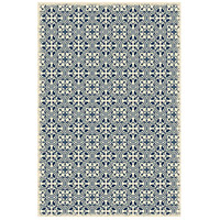 Quad 72 X 48 inch Blue and White Outdoor Rug