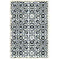 Quad European 72 X 48 inch Blue and White Outdoor Rug