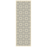 Quad 72 X 24 inch Grey and White Outdoor Rug